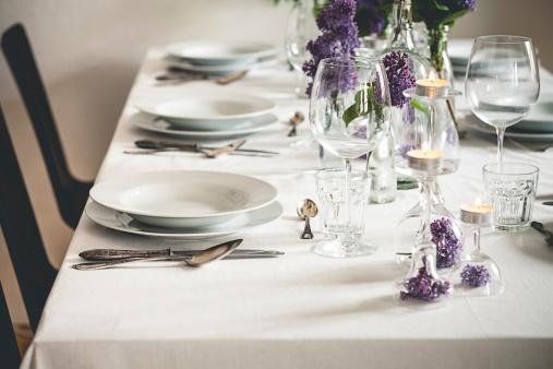 Dining Table「Festive laid table with lilac, Syringa」:スマホ壁紙(14)
