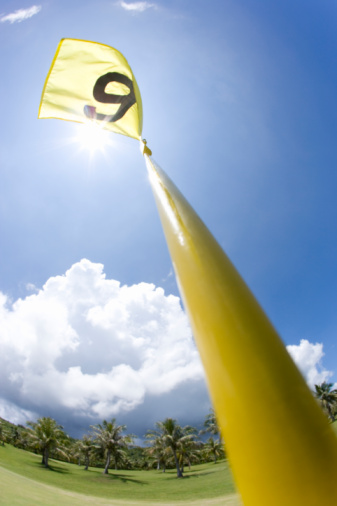Sixth Hole「Golf flag, lens flare, fish-eye lens, Saipan, USA 」:スマホ壁紙(7)
