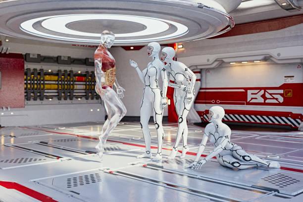 Women cyborgs examining anatomy of transparent man:スマホ壁紙(壁紙.com)