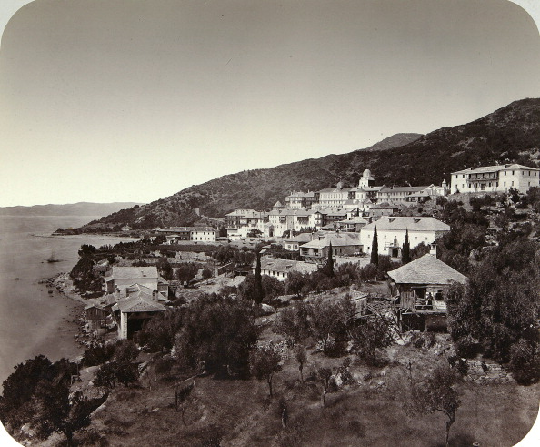Mt Athos Monastic Republic「The Rossikon (St Panteleimon Monastery) on Mount Athos, Greece, 1860s.」:写真・画像(3)[壁紙.com]