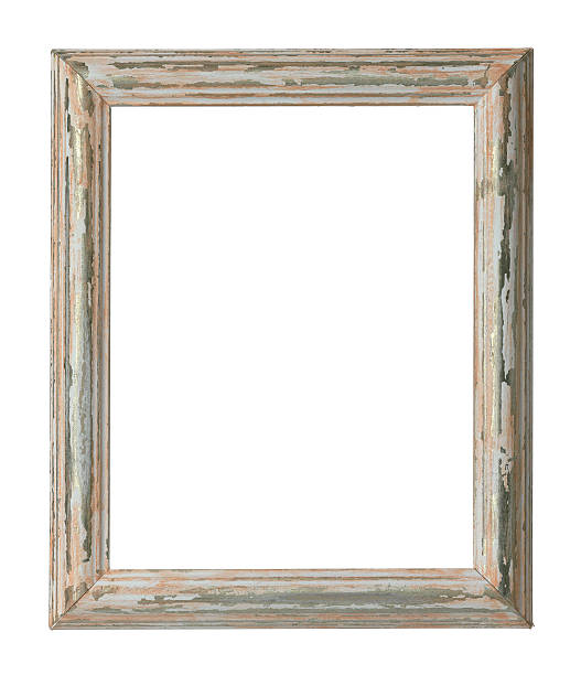An empty weathered wooden frame on a white background:スマホ壁紙(壁紙.com)