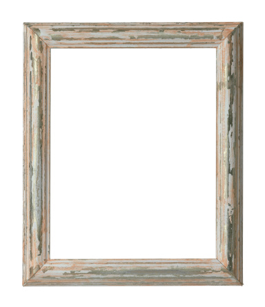 Antique「An empty weathered wooden frame on a white background」:スマホ壁紙(13)