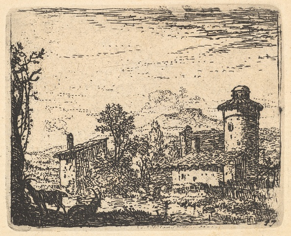 Etching「Landscape With Two Horned Goats In Shadow At Left Foreground」:写真・画像(13)[壁紙.com]