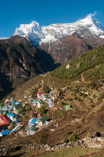 Khumbu「Namche Bazaar with Tibetan Buddhist monastery」:スマホ壁紙(9)