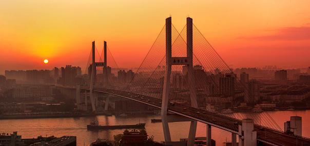 Wire Rope「Shanghai Nanpu Bridge and urban architecture」:スマホ壁紙(16)