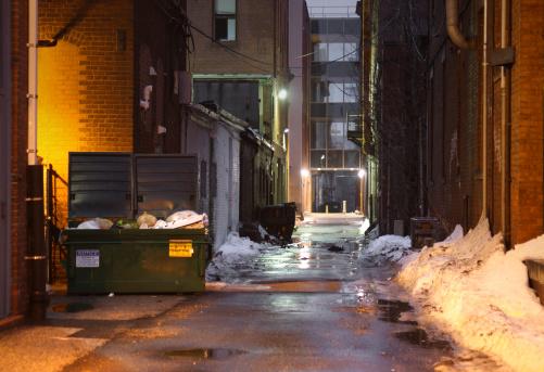 Industrial Garbage Bin「Snowy and Dark, Grunge Alley with Lights Shining at Night」:スマホ壁紙(19)