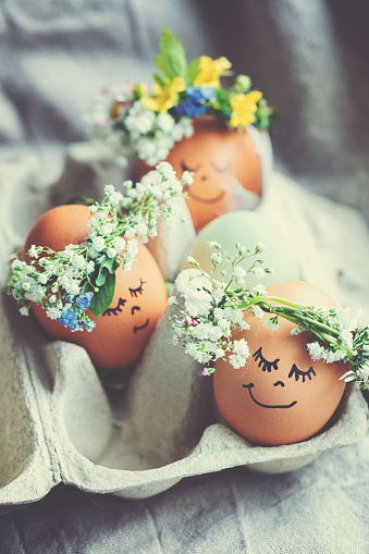 Animal Egg「Natural easter eggs with funny painted face and sweet flower wreath」:スマホ壁紙(19)