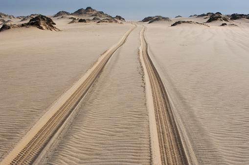 Lost「A track for vehicles to carefully pass through the dunes along the Skeleton Coast of Namibia」:スマホ壁紙(12)