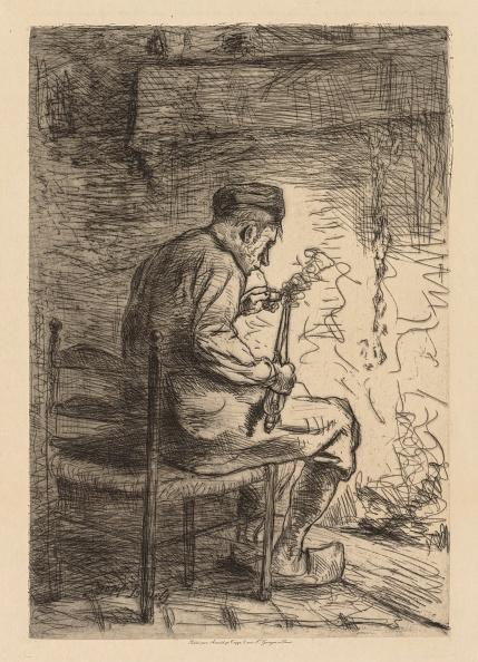 Etching「The Smoker. Creator: Jozef Israëls (Dutch」:写真・画像(7)[壁紙.com]