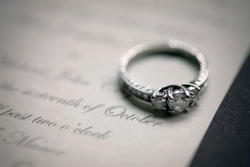 Wedding Invitation「Engagement Ring On A Wedding Invitation」:スマホ壁紙(5)