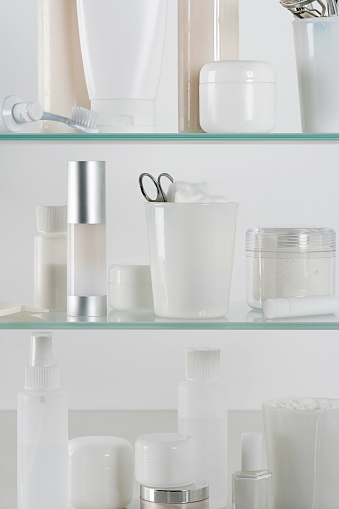 Care「Medicine cabinet full of skincare products」:スマホ壁紙(6)