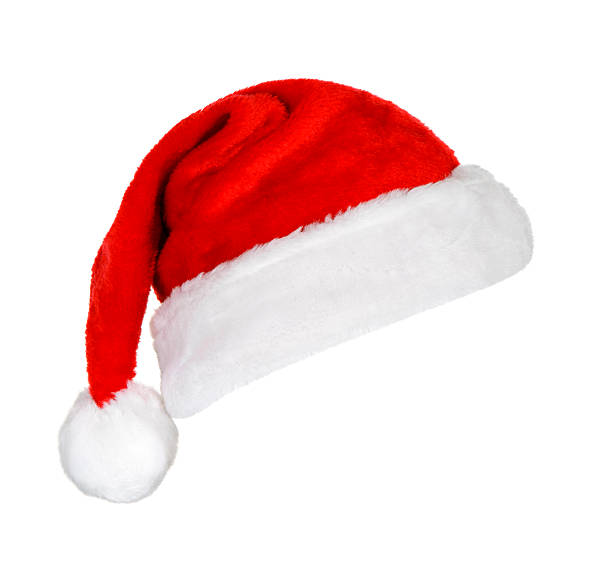 A festive red and white Santa hat on a white background:スマホ壁紙(壁紙.com)