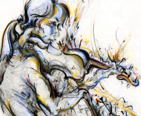 Classical Concert「Jazz Musician Playing Music on Instrument Painting Drawing Art」:スマホ壁紙(10)