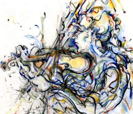 Violin Scroll「Jazz Musician Playing Music on Instrument Painting Drawing Art」:スマホ壁紙(12)