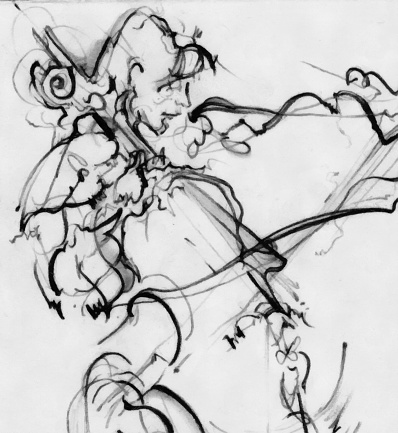 Classical Concert「Jazz Musician Playing Music on Instrument Painting Drawing Art」:スマホ壁紙(13)