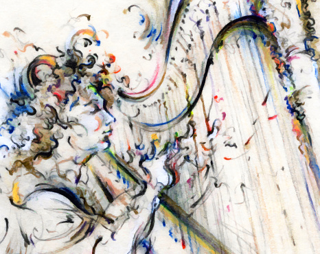 Classical Concert「Jazz Musician Playing Music on Instrument Painting Drawing Art」:スマホ壁紙(8)