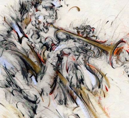 Classical Concert「Jazz Musician Playing Music on Instrument Painting Drawing Art」:スマホ壁紙(14)