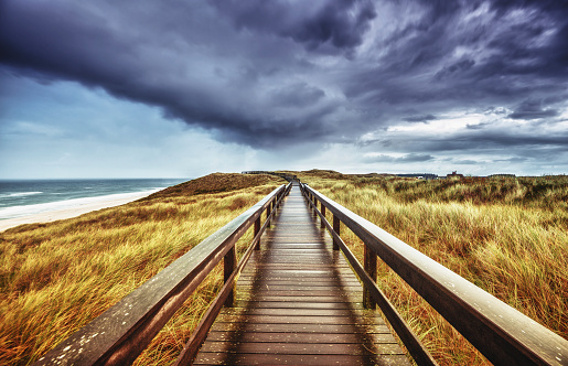 Footpath「Autumn on Sylt - Wooden path under dramatic sky」:スマホ壁紙(5)