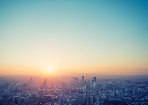 Japanese Culture「Cityscape in Tokyo at sunset elevated view」:スマホ壁紙(13)