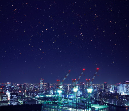 Tokyo - Japan「Cityscape in the night, long exposure, Tokyo prefecture, Japan」:スマホ壁紙(2)
