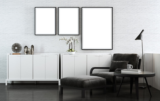Brick Wall「Black and white living room with copy space wall images」:スマホ壁紙(14)