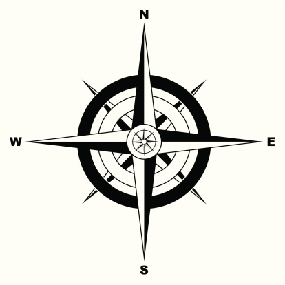 Lost「Black and white simple illustrated compass」:スマホ壁紙(8)