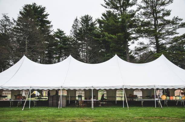 Wedding Tent on Grass Beneath Trees:スマホ壁紙(壁紙.com)
