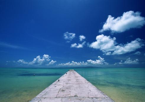 夏「Pier and beach」:スマホ壁紙(13)