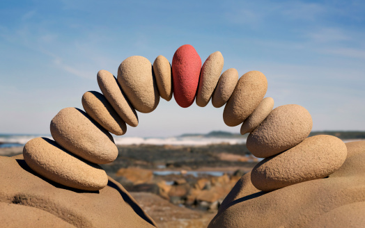Individuality「Bridge made from stones, red one in centre」:スマホ壁紙(17)