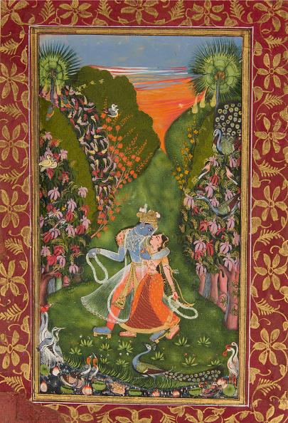 Grove「Radha And Krishna Walk In A Flowering Grove (Recto); Krishna Fluting (Verso)」:写真・画像(10)[壁紙.com]