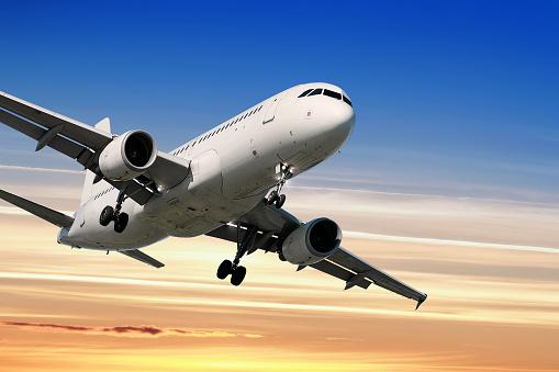 Approaching「jet airplane landing at sunset」:スマホ壁紙(14)