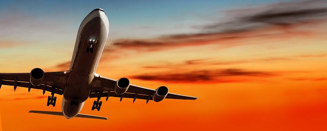 Approaching「jet airplane landing at sunset」:スマホ壁紙(9)
