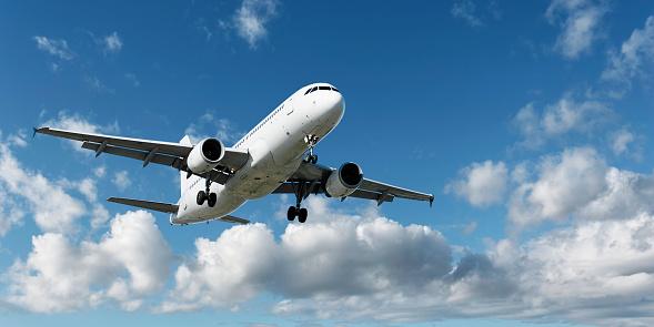 Approaching「XL jet airplane landing in bright sky」:スマホ壁紙(14)