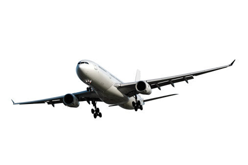 Commercial Airplane「jet airplane landing on white background」:スマホ壁紙(17)