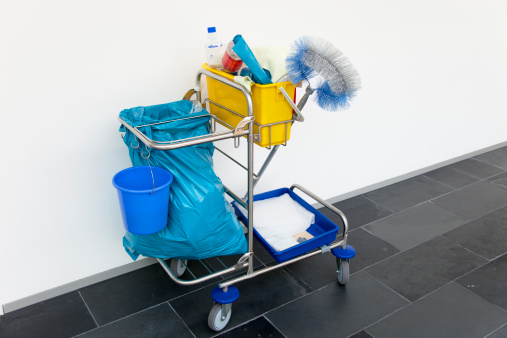 Sweeping「cleaning cart in front of a white wall at office」:スマホ壁紙(18)