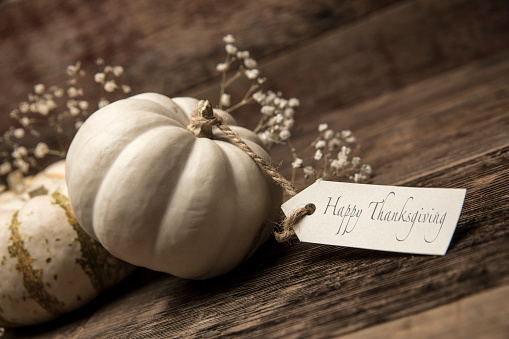 Traditional Festival「Autumn White Small pumpkins with card on wood background」:スマホ壁紙(19)