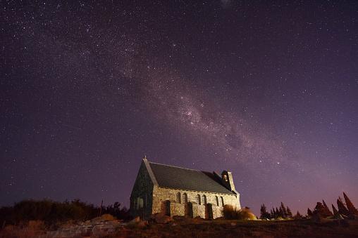 star sky「教会の テカポ と 天の川」:スマホ壁紙(3)
