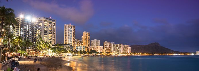 ハワイ ビーチ「アメリカ、ハワイ、オアフ島、ワイキキ ・ ビーチのパノラマ、夜」:スマホ壁紙(5)