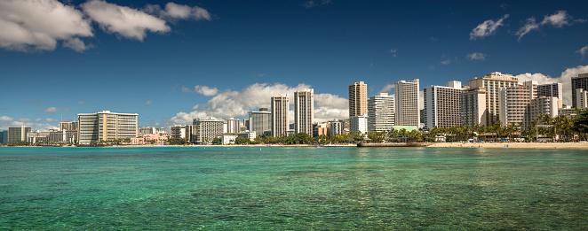 ハワイ ビーチ「アメリカ、ハワイ、オアフ島、ワイキキ ・ ビーチのパノラマ」:スマホ壁紙(8)