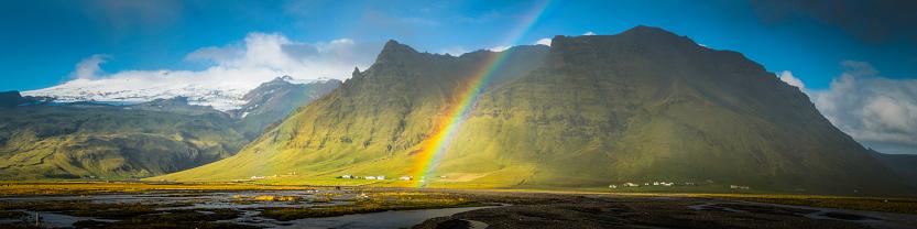 虹「レインボーズリヴァース頑丈な山頂パノラマ北極農場氷河アイスランド」:スマホ壁紙(5)