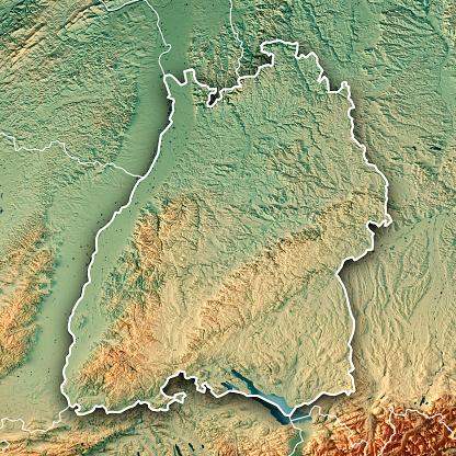 Square「ドイツ バーデン = ヴュルテンベルク州の 3 D の連邦国家は、地形図の枠線を表示します。」:スマホ壁紙(16)