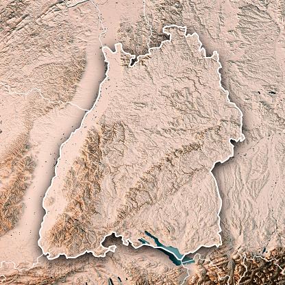 Square「バーデン = ヴュルテンベルク州ドイツ 3 D レンダリング地形図中立的な国境の連邦国家」:スマホ壁紙(17)