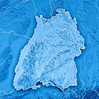 Square「連邦国家ドイツ バーデン = ヴュルテンベルク州の 3 D レンダリングの地形図の青枠」:スマホ壁紙(15)