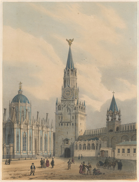 Chromolithograph「The Spasskaya Tower (Saviour Gates) And Saint Catherine Church Of Ascension Convent In The Moscow Kr Artist: Arnout」:写真・画像(6)[壁紙.com]