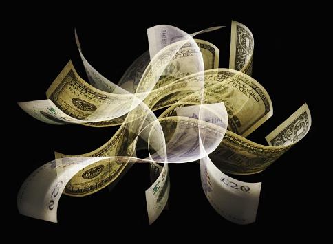 Multiple Exposure「Dollar bills and pound notes fluttering」:スマホ壁紙(17)