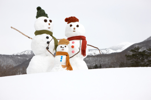 雪だるま「Three Snowmen representing a family in snow」:スマホ壁紙(13)