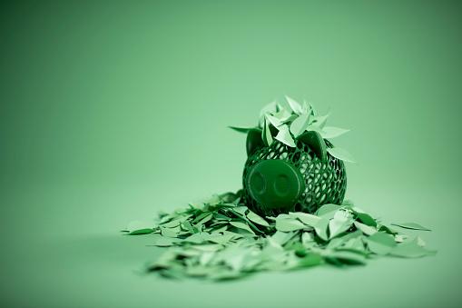 Paper Craft「Hedge fund: piggy bank bathing in paper leaves」:スマホ壁紙(10)