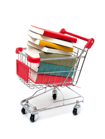 Hardcover Book「Books in Shopping Cart isolated on white background」:スマホ壁紙(10)