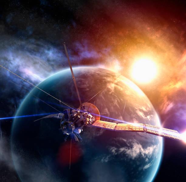 Satellite circling Earth in space:スマホ壁紙(壁紙.com)
