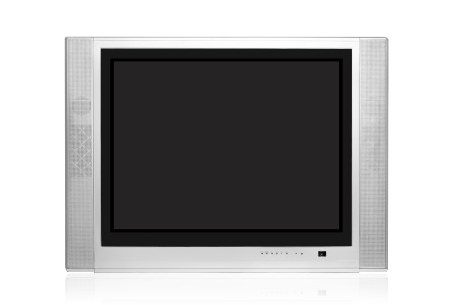 Silver Colored「Modern CRT TV, isolated on white background」:スマホ壁紙(10)